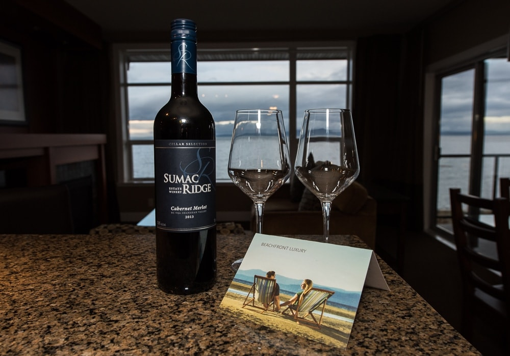 Bottle of wine, 2 glasses and welcome note from the staff at the beach resort parksville