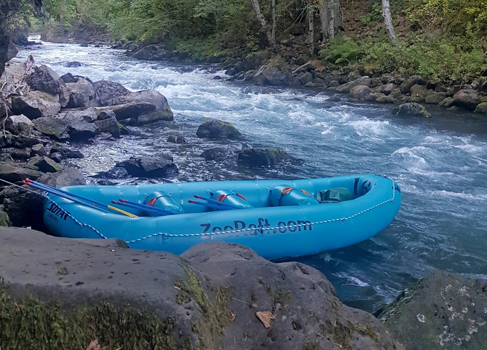 Zoller's Outdoor Odysseys raft sitting in the water before we start our journey