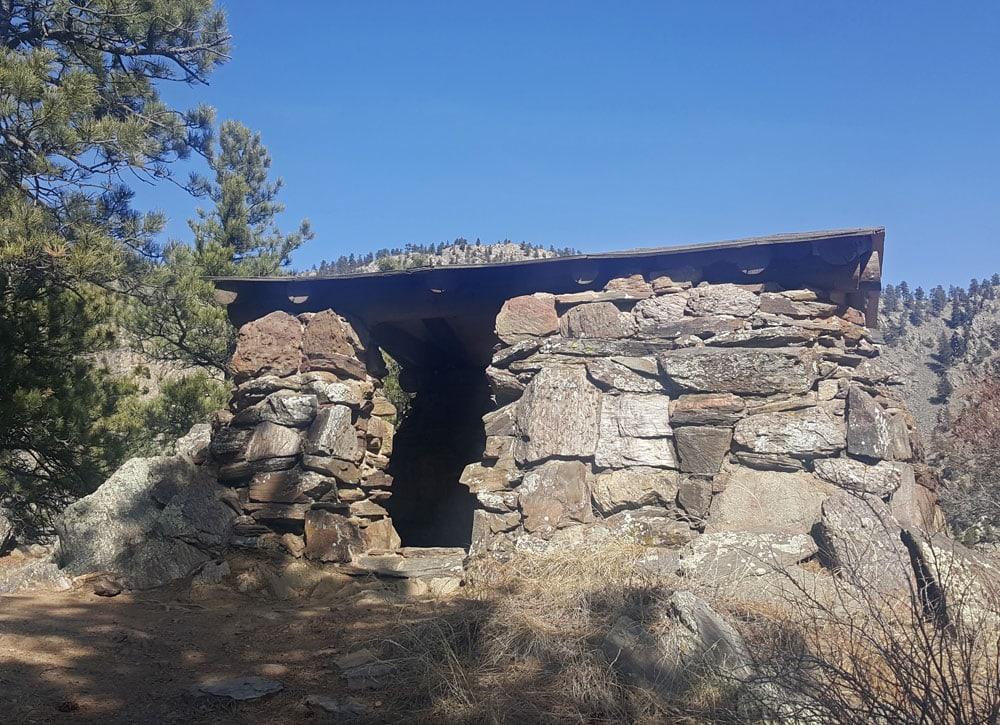 Stone shelter overlooking Big Thompson Canyon at Round Mountain