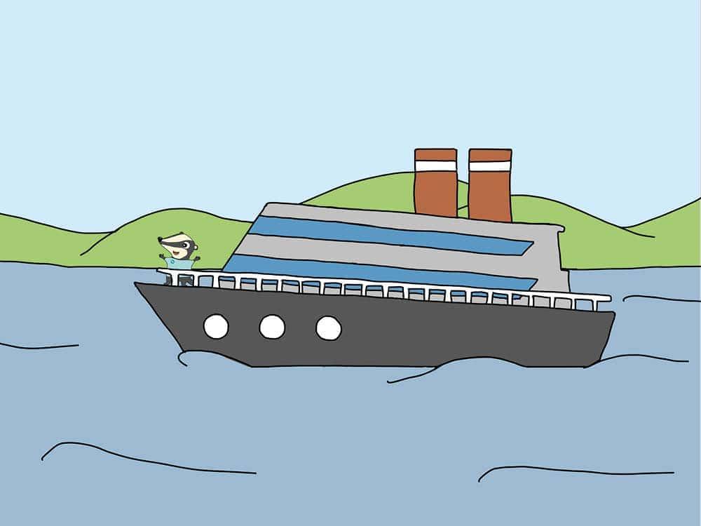 Zeichnung eines Flusskreuzfahrtschiffes mit einem Dachs