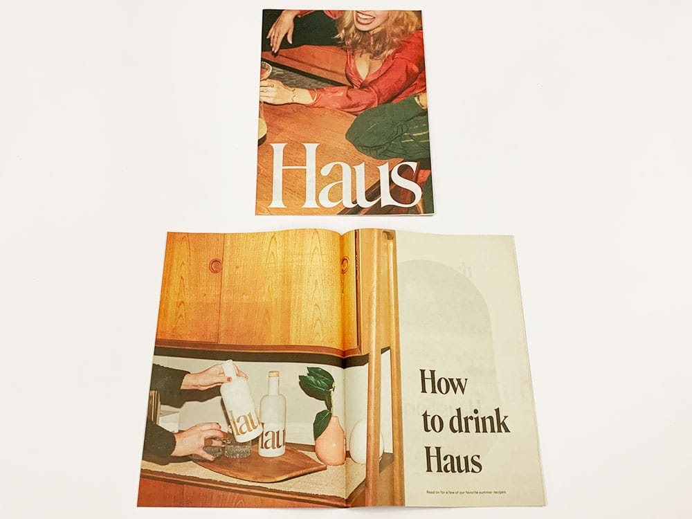 A saddle stitched newsprint booklet printed for Haus.