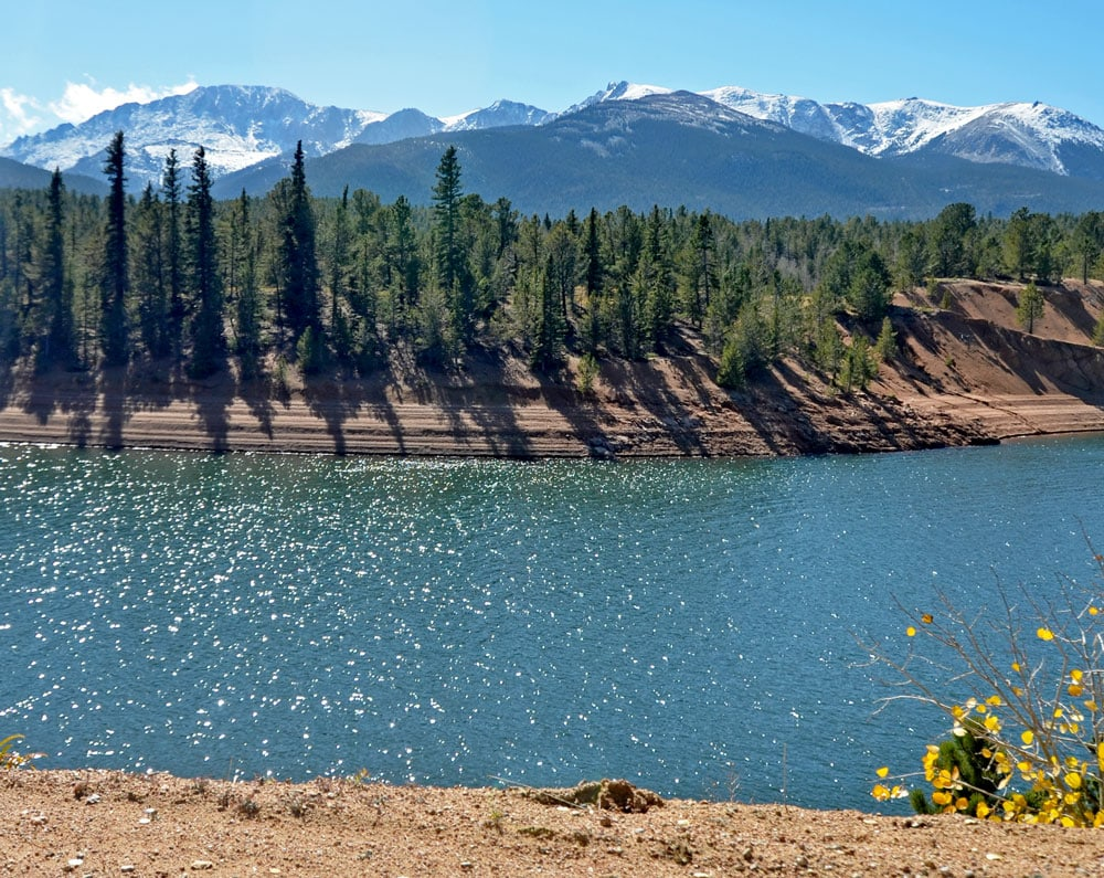 Beautiful mountain lake on the way up Pikes Peak