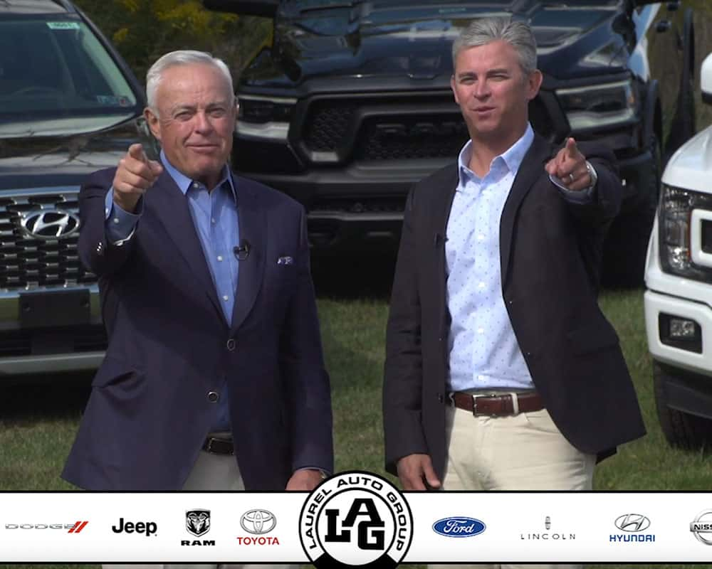 Still from Laurel Auto Group video with Mike and Matt Smith