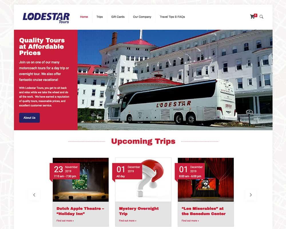 Screenshot of Lodestar Tours website