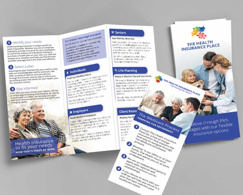 The Health Insurance Place tri-fold brochure and rack card