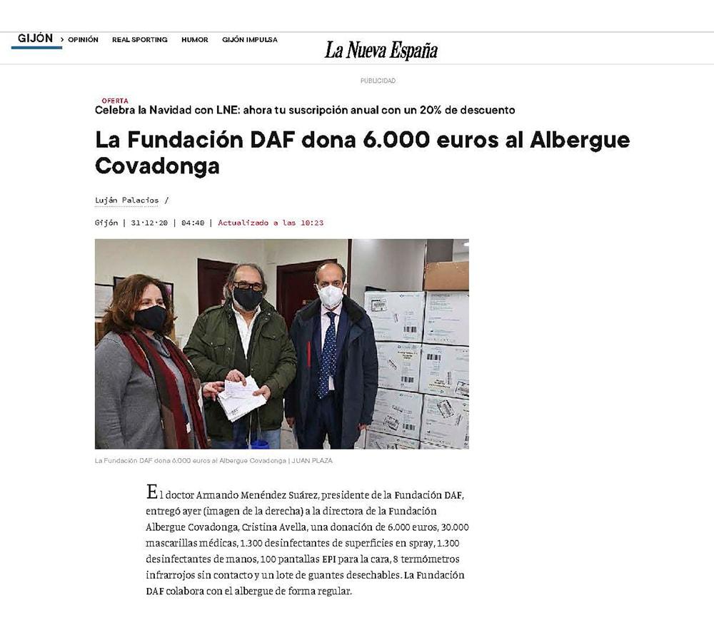 LNE-Articulo entrega donación al Albergue