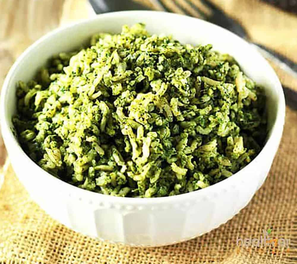 Spinach Rice In A White Bowl