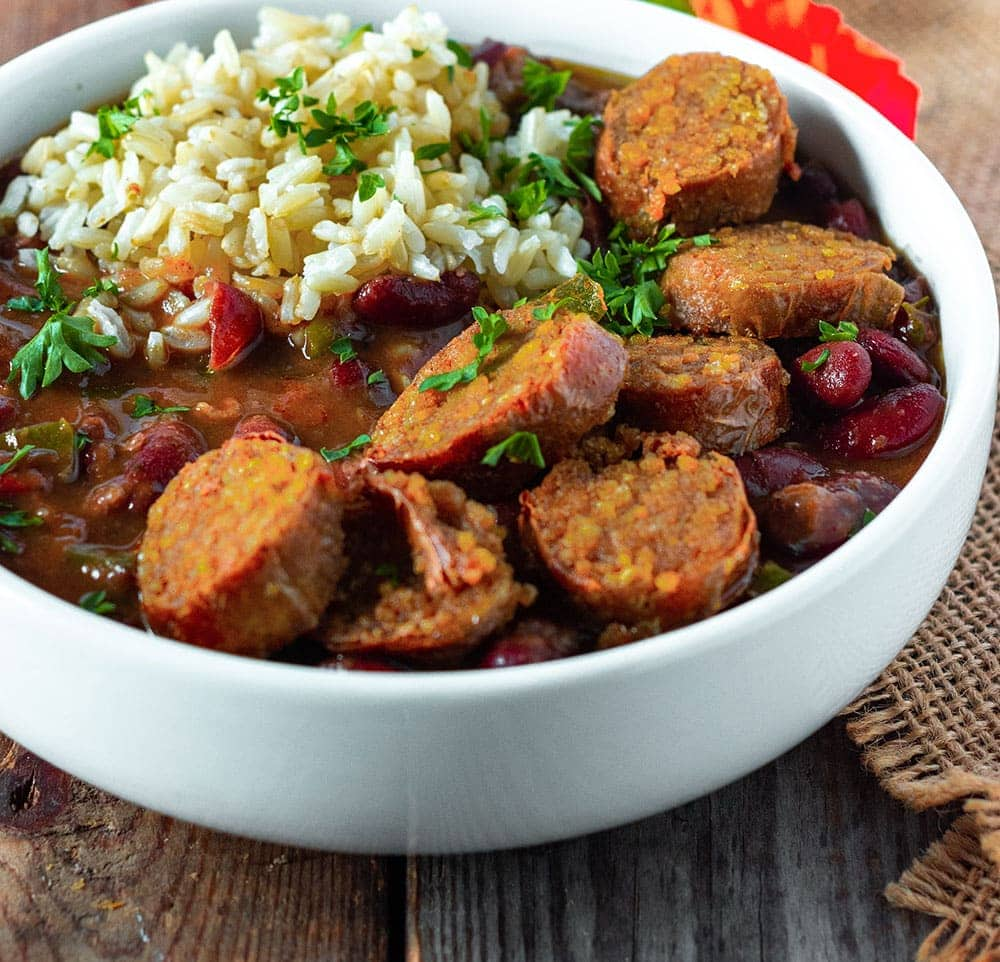 Easy red beans and rice, in a white bowl