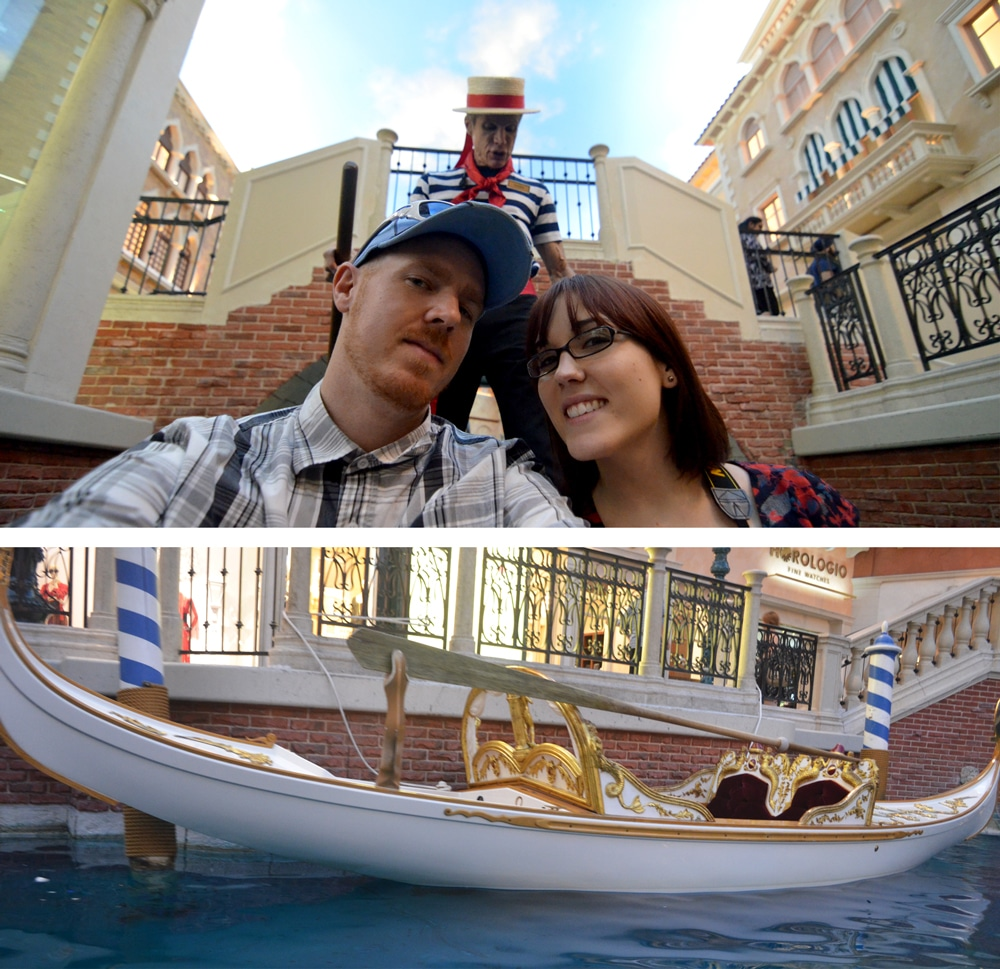 Brooke and Buddy on the Gondola ride - las vegas for non-gamblers