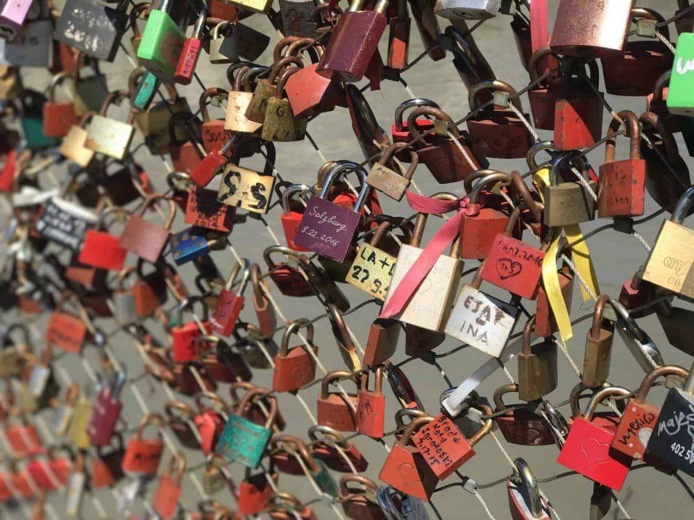 Locks of Love Bridge in Salzburg
