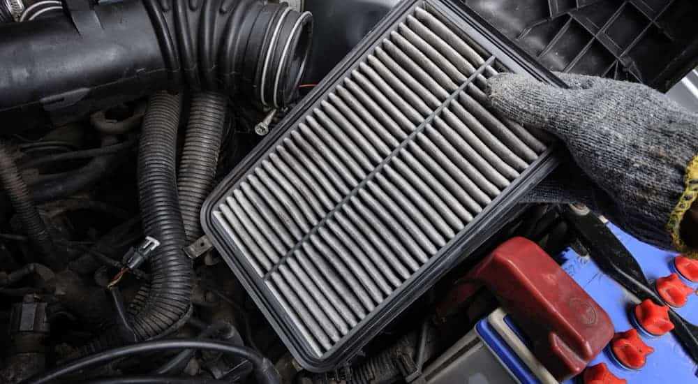 A gloved hand is holding an engine air filter.
