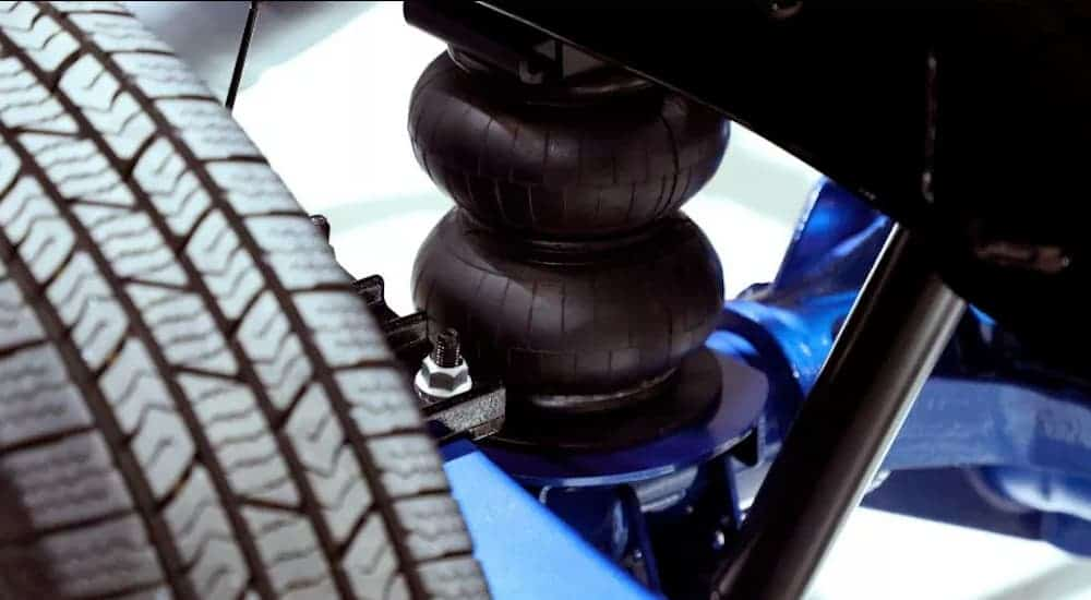 A closeup of the air suspension from a 2019 Ram Heavy Duty is shown.