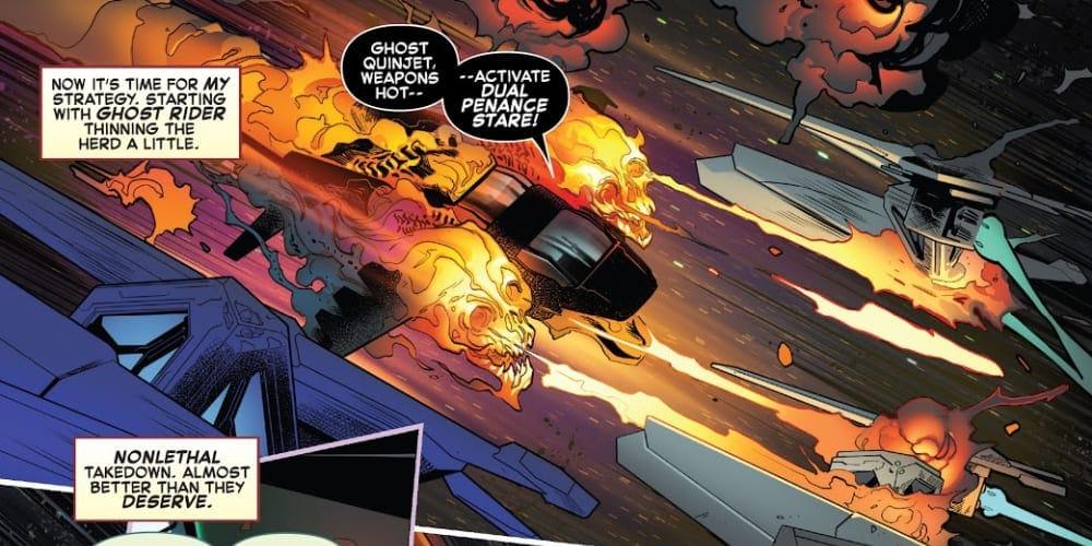 Avengers/FF: Empyre #1, Ghost Rider, Robbie Reyes, Penance Stare, Ghost Quinjet, Kree, Skrulls, Cotati, Captain America, Iron Man, Fantastic Four, Thing, Human Torch, Swordsman, Celestial Messiah