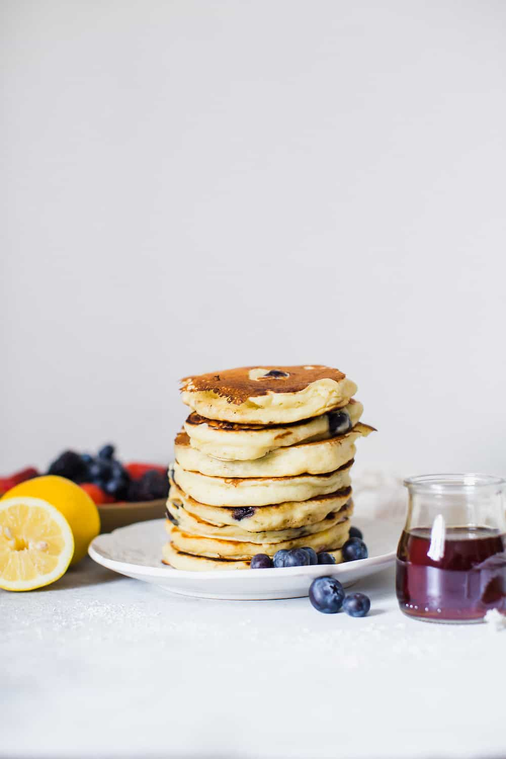 lemon blueberry and ricotta pancakes