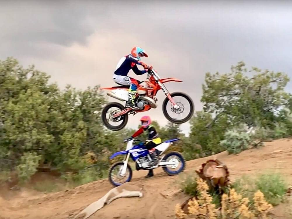 Sam Oldham stunt jumping with his dirt bike