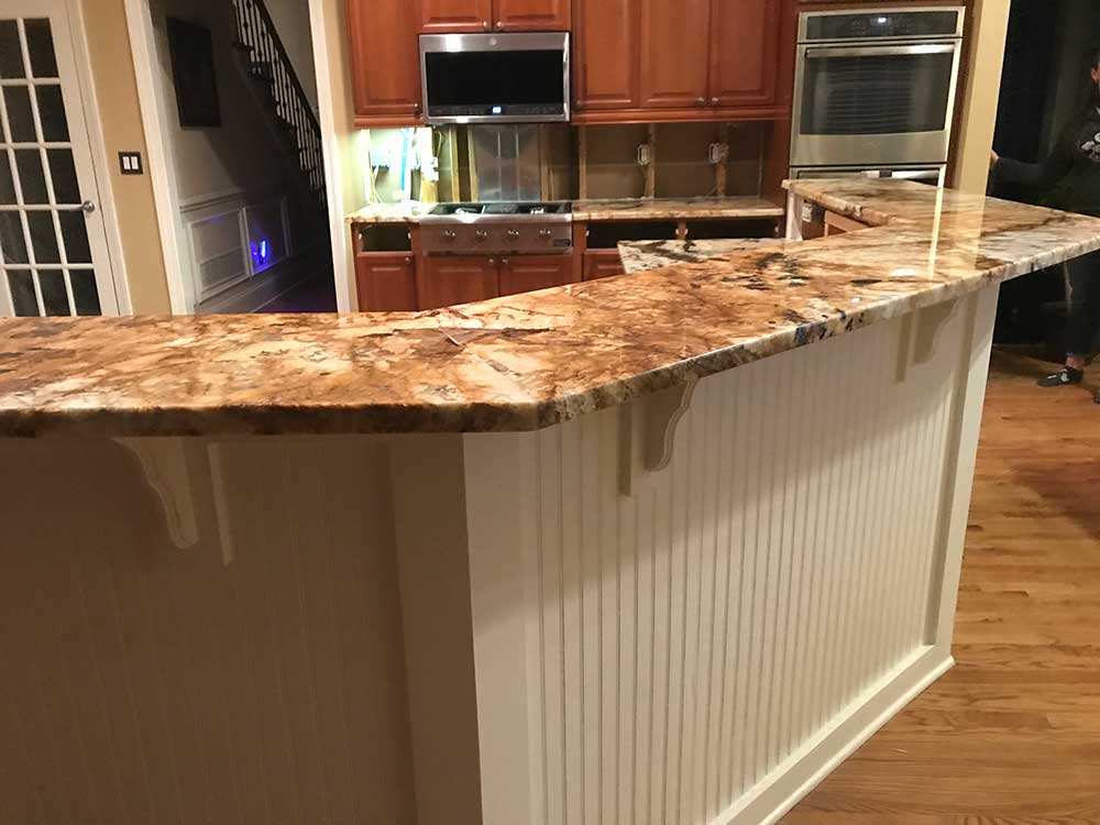 This is an after photo of Splendor Gold Granite Countertops in Acworth, GA.