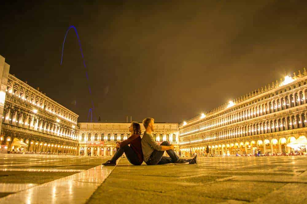 Piazza San Marco in Venice - sitting down, but no picnic at least at night