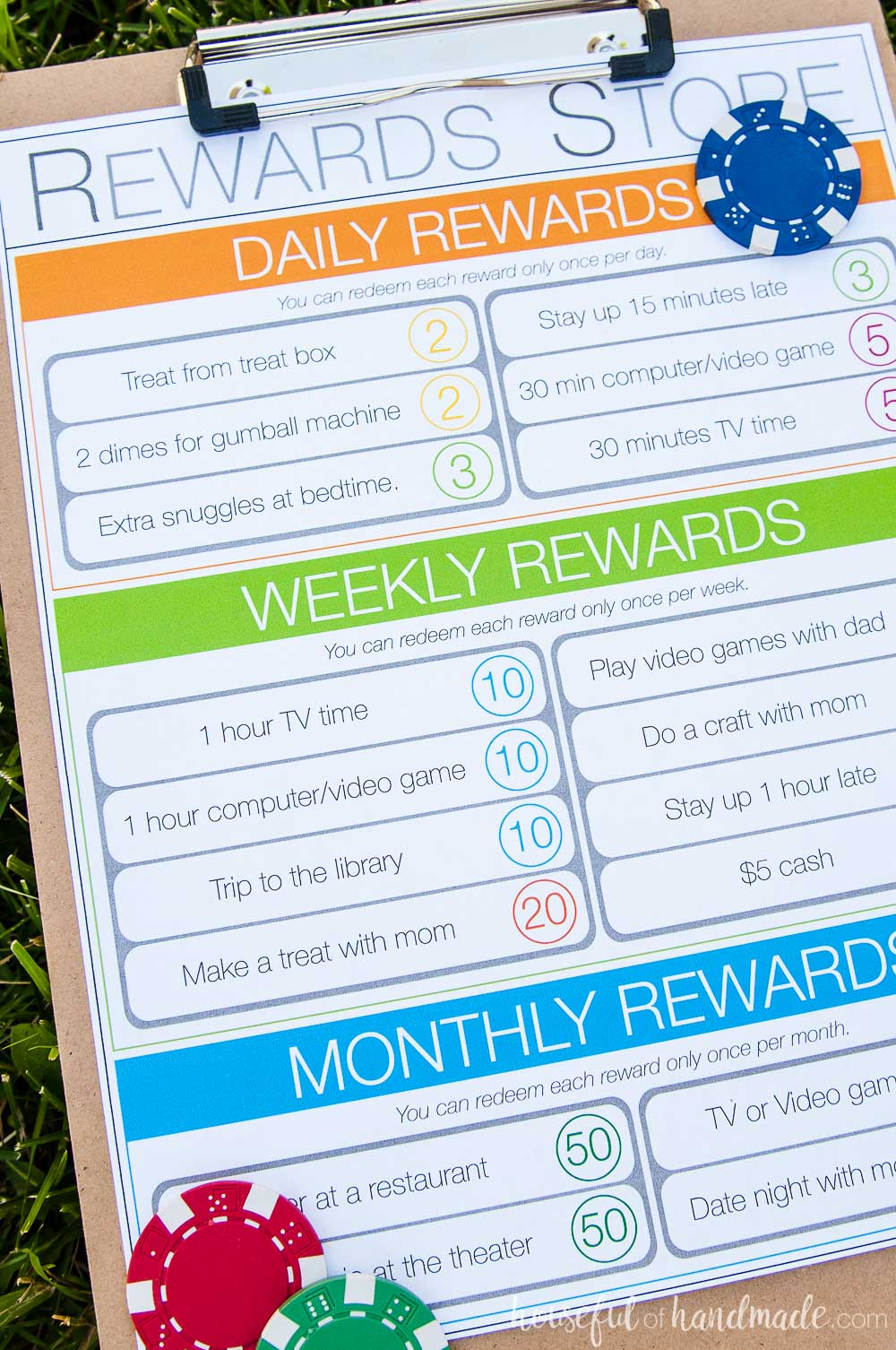 Let your kids earn rewards with their kids chore system. They can save up for big rewards and learn to manage their money. Housefulofhandmade.com