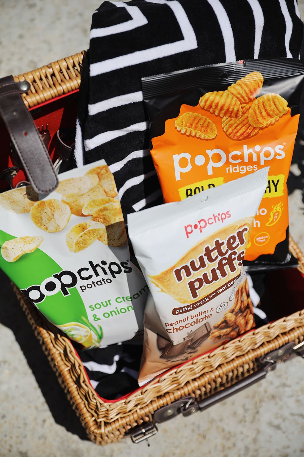 popchips savory and sweet flavors by the pool