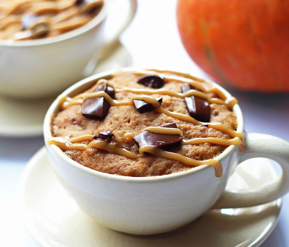 Pumpkin Mug Cake with Chocolate