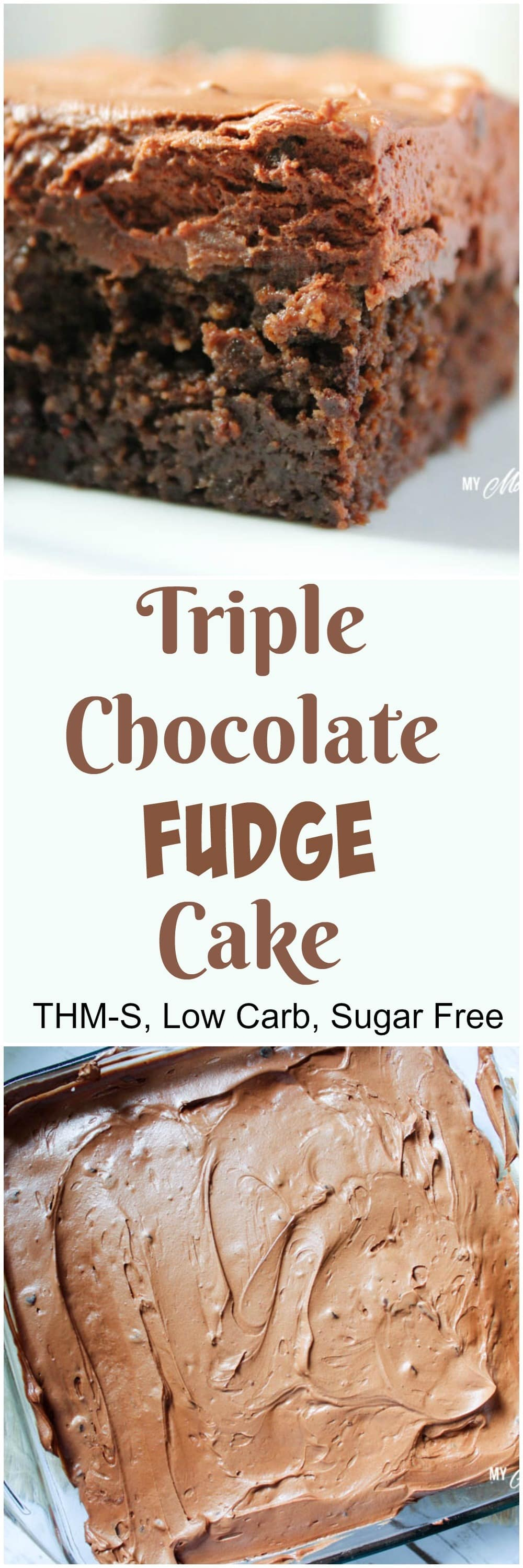 Triple Chocolate Fudge Cake (Low Carb, Sugar Free, THM-S)