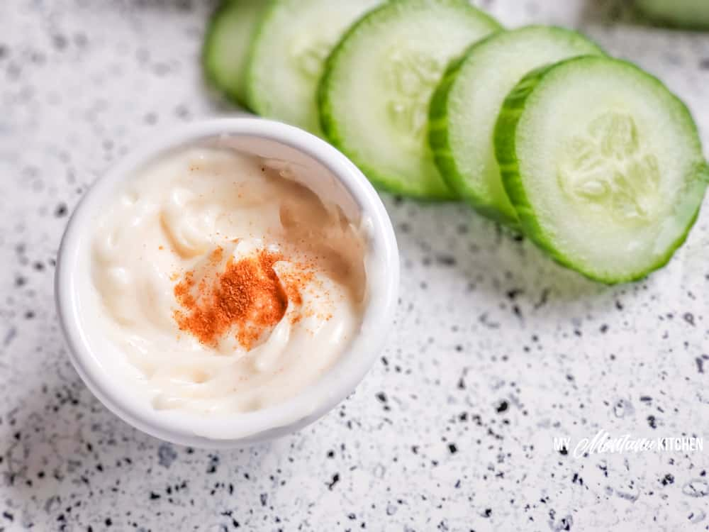 spicy mayo with sliced cucumbers