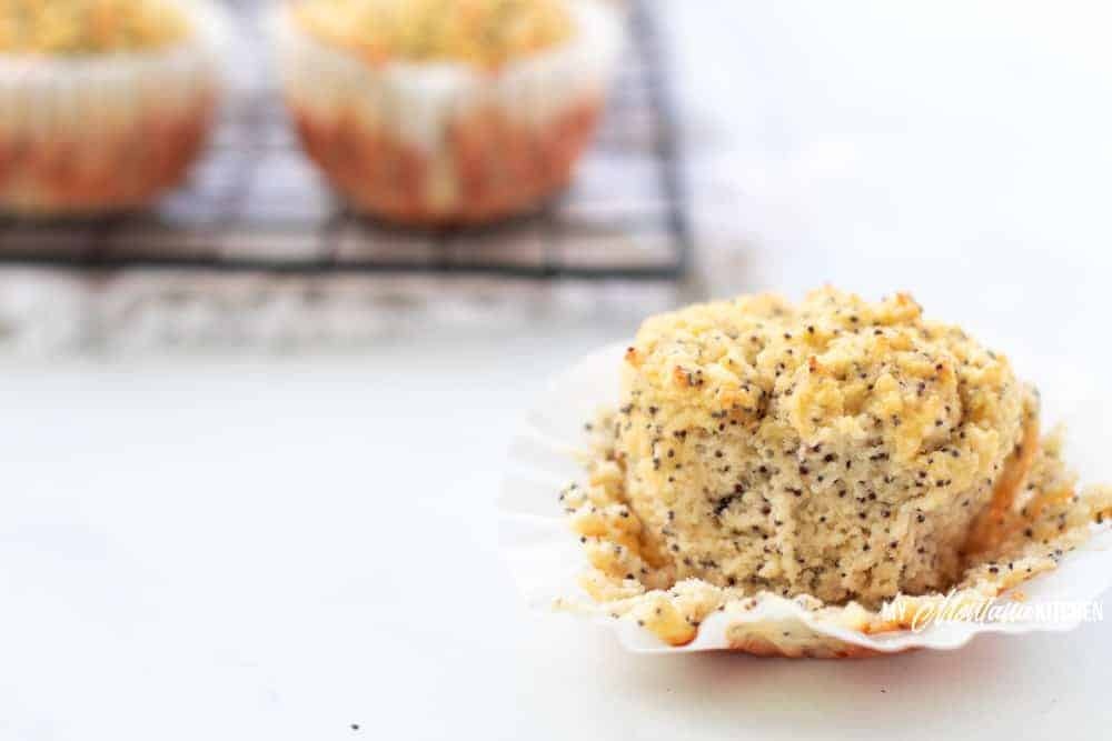 close up of keto lemon muffins baked