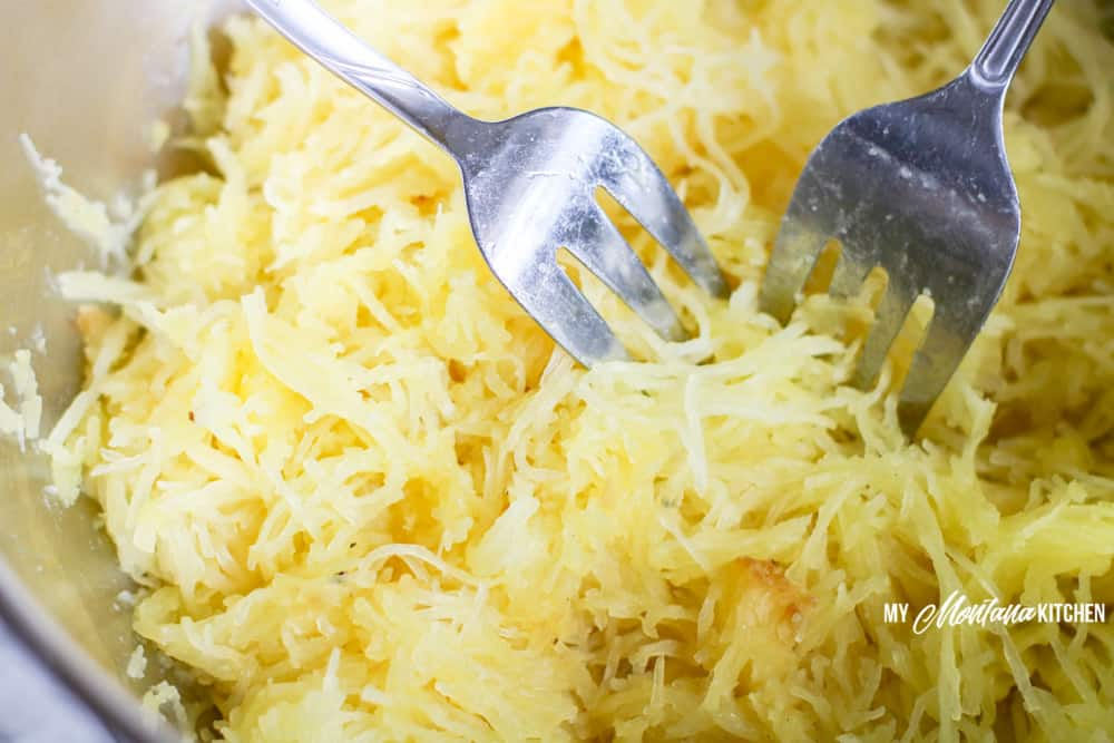 shredded cooked spaghetti squash with two forks