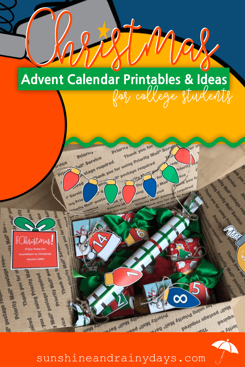 This is not your traditional Christmas Advent Calendar with cute little boxes that fit perfectly in another box. NOPE! This Advent Calendar is an assortment of small gifts to wrap and adhere Advent Calendar Numbers to! It's perfect for the college student because you can keep some gifts at home! Christmas Advent Calendar   Advent Calendar   Advent Calendar Ideas   Advent Calendar Printable #adventcalendar #ChristmasAdvent #printables #SARD