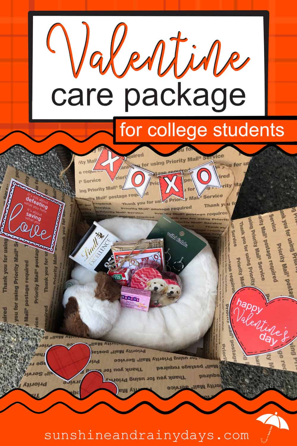Get your Valentine Care Package For College Students Printables here! Your College Valentine will appreciate the effort you put into making Valentine's Day special for them! Valentine Care Package Ideas | Valentine Care Package College | College Valentine Boxes | College Valentines Day Care Package | College Valentine Ideas | #Valentines #SARD