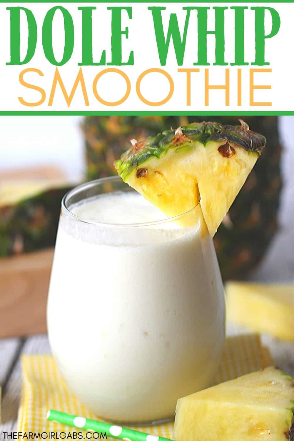 This Dole Whip Smoothie recipe is inspired by my favorite Walt Disney World Treat. This easy smoothie recipe is full of pineapple flavor and is perfect for breakfast, lunch or a snack. This Dole Whip recipe is the next best thing to visiting Disney World. #dolewhiprecipe #disneyfood #disneysnack #disneyrecipe #breakfastsmoothie #dolewhip