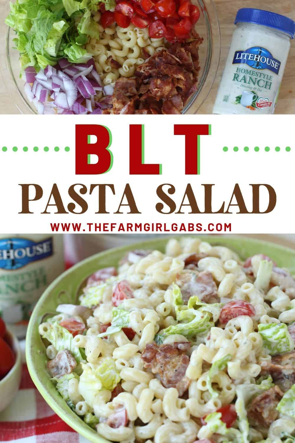 Everything is better with bacon! It's picnic season and this BLT Pasta Salad is the perfect summer salad recipe! This pasta salad recipe is filled with crispy bacon, fresh tomatoes and romaine. It is dressed with Litehouse Ranch Dressing. Save this kicked up macaroni salad recipe for your next backyard BBQ or picnic. #bltpastasalad #BLT #pastasalad #bacon #summersalad #macaroni salad