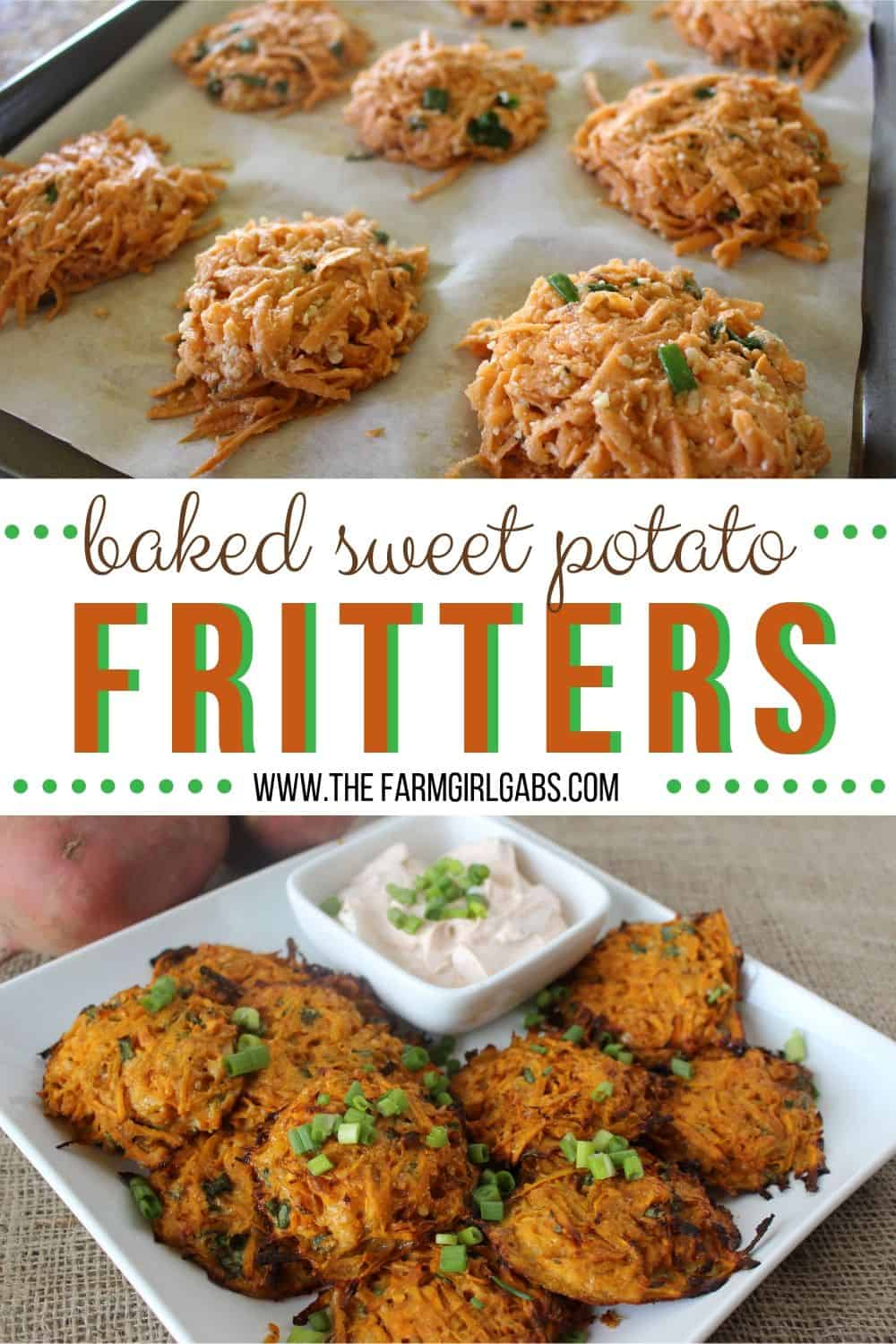 Baked sweet potato fritters are a delicious and healthy recipe. This dish is a perfect side dish or appetizer. This sweet potato fritter recipe is perfect to make in the fall or any time fo the year. #fritters #sweetpotatoes