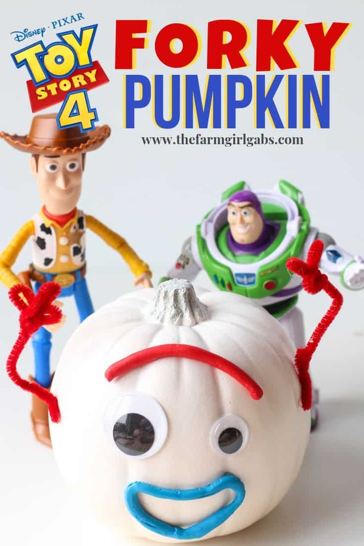 Forky won our hearts in Disney Pixar's Toy Story 4. Your kids will love making this easy Toy Story 4 Forky Pumpkin craft for Halloween. #toystory #forky #pumpkin #halloween #fallcraft #disneycraft