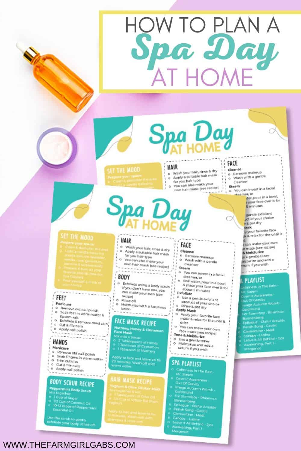 Treat yourself to some much-needed pampering. Download this free printable for planning the ultimate Spa Day at Home for Mother's Day.
