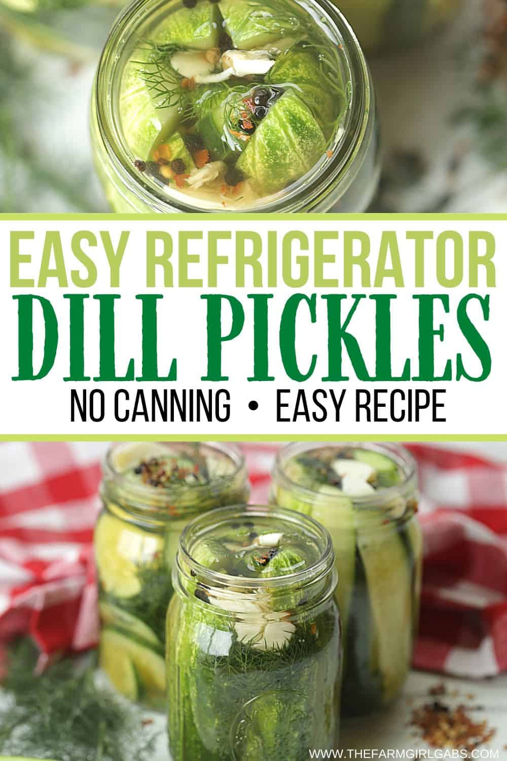 This Easy Homemade Refrigerator Dill Pickles recipe packs a lot of crunch and zesty flavor. There is no canning involved in this easy refrigerator pickle recipe. This recipe is a great way to use those cucumbers you just picked from your garden or bought at your farmers' market. These refrigerator pickles are cucumbers that are pickled in a homemade brine with garlic, dill and spices.