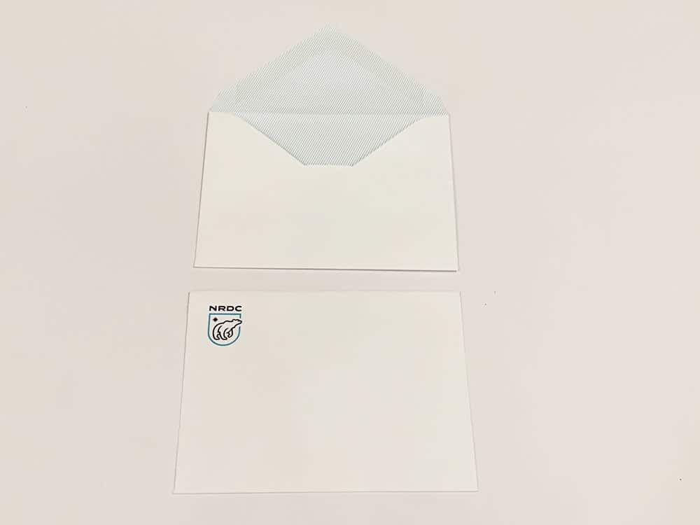 Example of a converted envelope printed for NRDC. Converted envelopes are printed inside and out, making for a polished and official aesthetic.