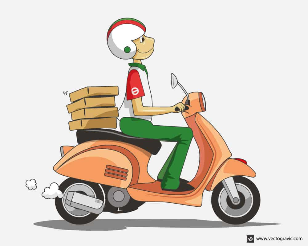 Vector Delivery Scooter Illustration