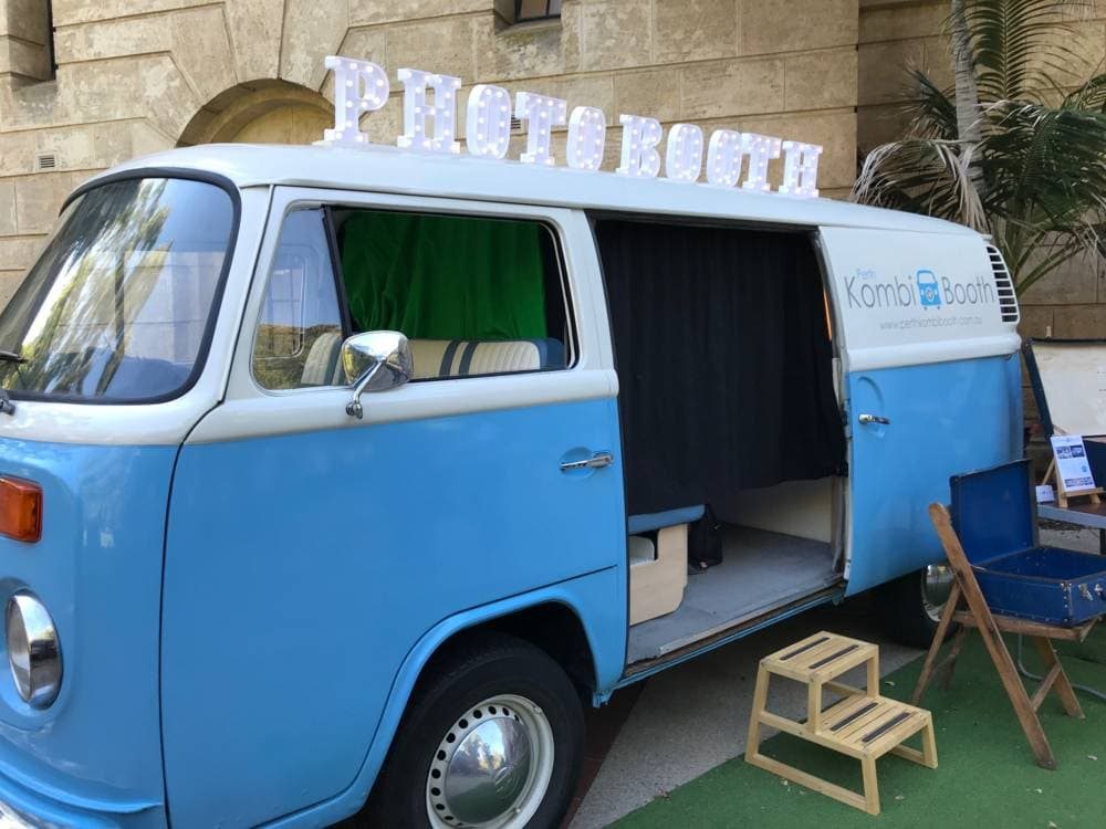 Perth event supplier Volkswagen Kombi van with the word photo both sitting on top of the vehicle