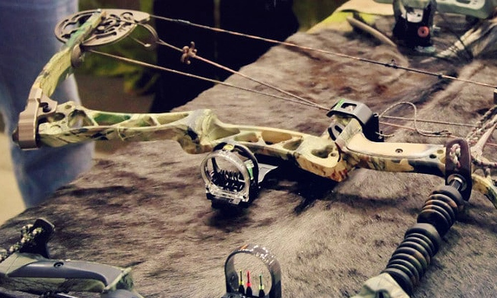 compound bow on table