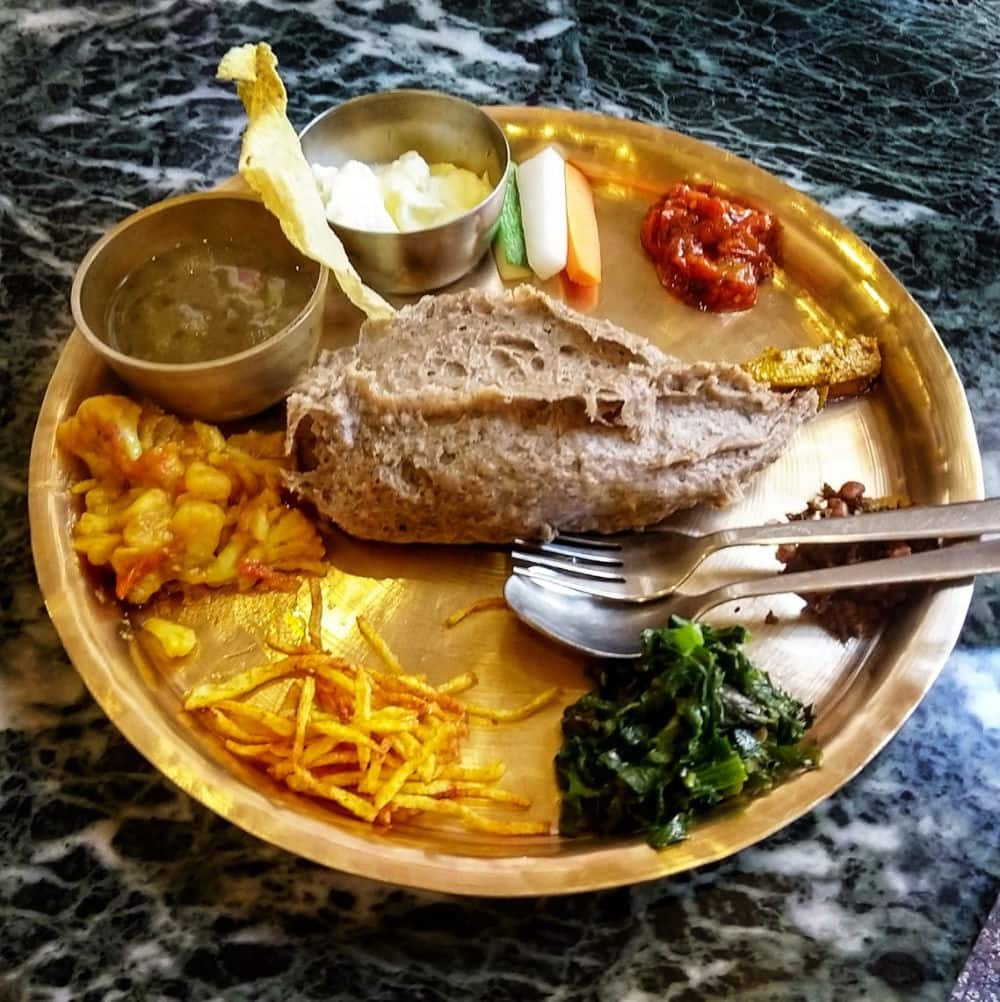 Nepali food Dhindo Dhido Nepal Thali