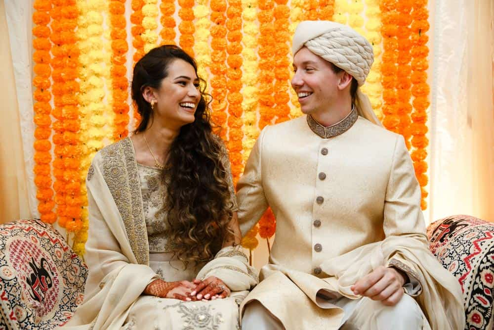 pre-wedding bride and groom at mehndi celebration