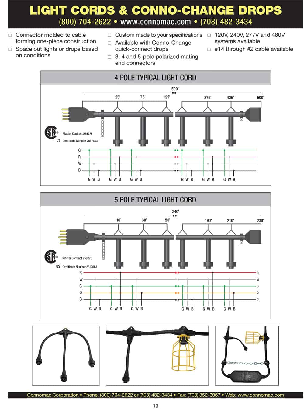 light cord & conno change drops spec sheet