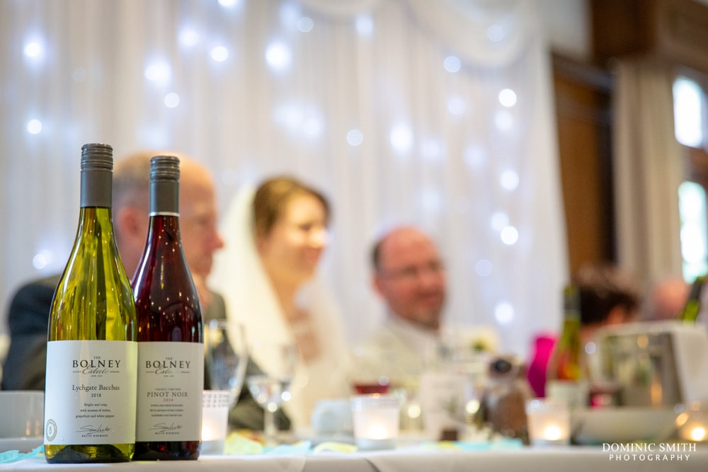 Bride and Groom with Bolney Wine Estate Wine