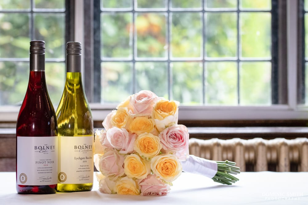Wedding Bouquet with Bolney Wine Estate Wine