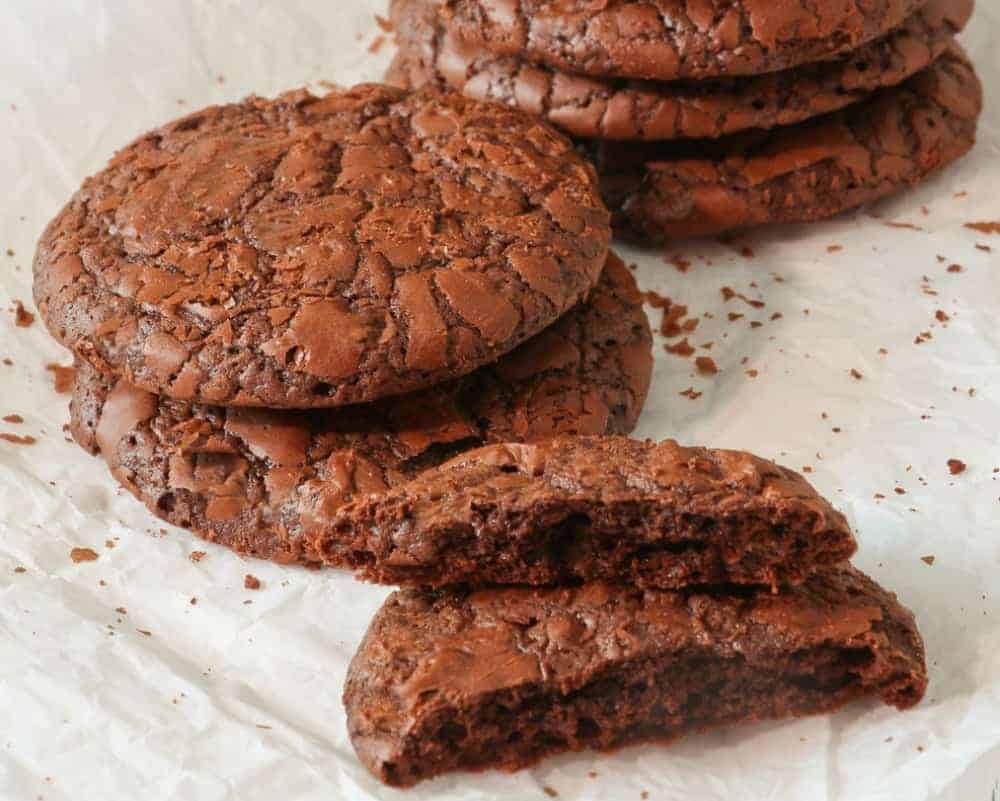 keto triple chocolate cookies on parchment paper