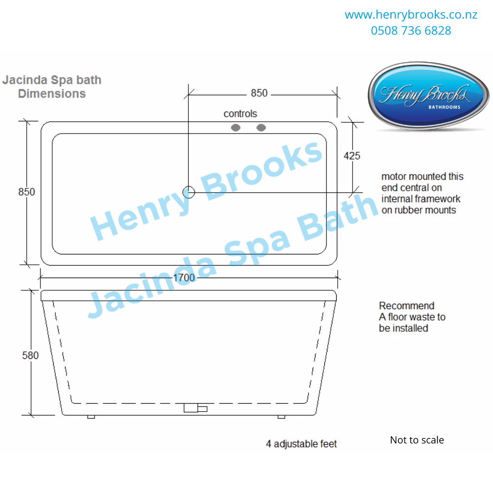 dimensions jacinda spa bath Henry Brooks