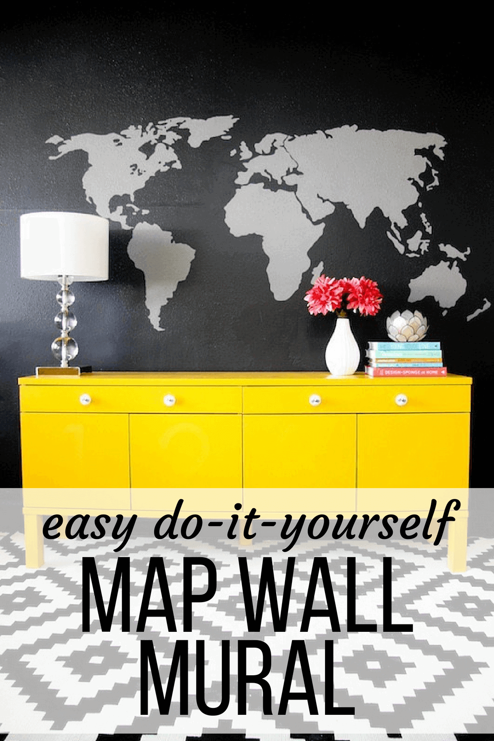 DIY wall decor - easy map mural