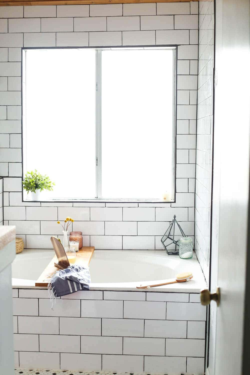 bathtub with a DIY tray