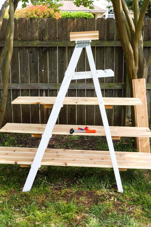 Shelves for ladder plant stand